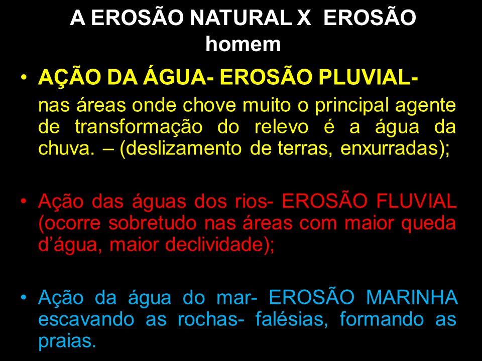 A EROSÃO NATURAL X EROSÃO homem AÇÃO DA ÁGUA- EROSÃO PLUVIAL- nas áreas onde chove muito o principal agente de transformação do relevo é a água da chu