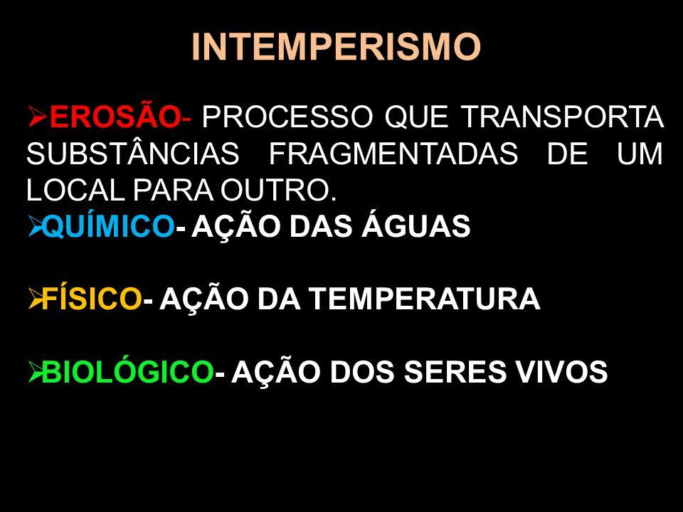 INTEMPERISMO EROSÃO- PROCESSO QUE TRANSPORTA SUBSTÂNCIAS FRAGMENTADAS DE UM LOCAL PARA OUTRO. QUÍMICO- AÇÃO DAS ÁGUAS FÍSICO- AÇÃO DA TEMPERATURA BIOL
