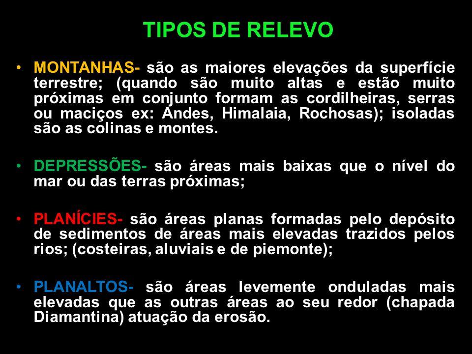 TIPOS DE RELEVO MONTANHAS- são as maiores elevações da superfície terrestre; (quando são muito altas e estão muito próximas em conjunto formam as cord