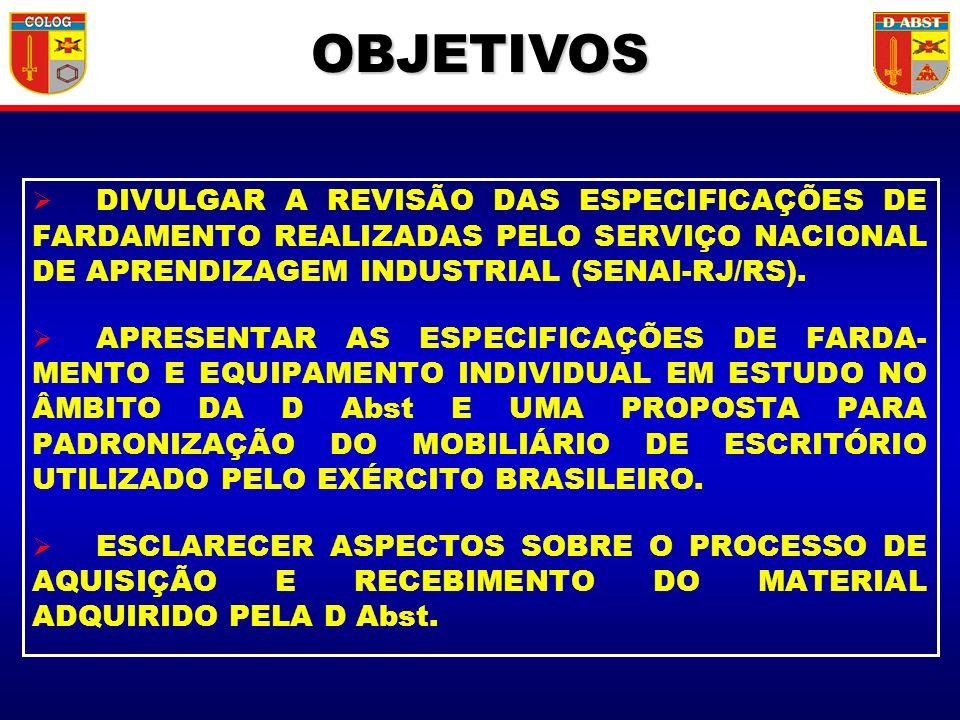 OBJETIVOS DIVULGAR A REVISÃO DAS ESPECIFICAÇÕES DE FARDAMENTO REALIZADAS PELO SERVIÇO NACIONAL DE APRENDIZAGEM INDUSTRIAL (SENAI-RJ/RS). APRESENTAR AS