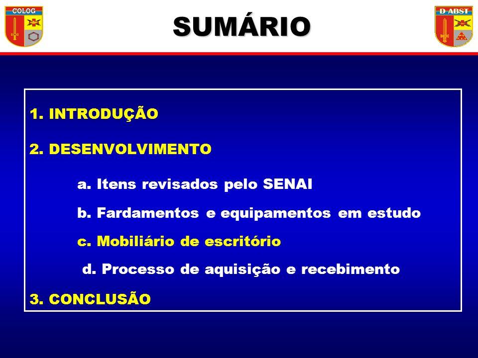 1. INTRODUÇÃO 2. DESENVOLVIMENTO a. Itens revisados pelo SENAI b. Fardamentos e equipamentos em estudo c. Mobiliário de escritório d. Processo de aqui