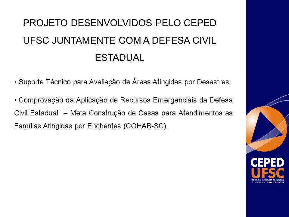 PROJETO DESENVOLVIDOS PELO CEPED UFSC JUNTAMENTE COM A DEFESA CIVIL ESTADUAL Suporte Técnico para Avaliação de Áreas Atingidas por Desastres; Comprova