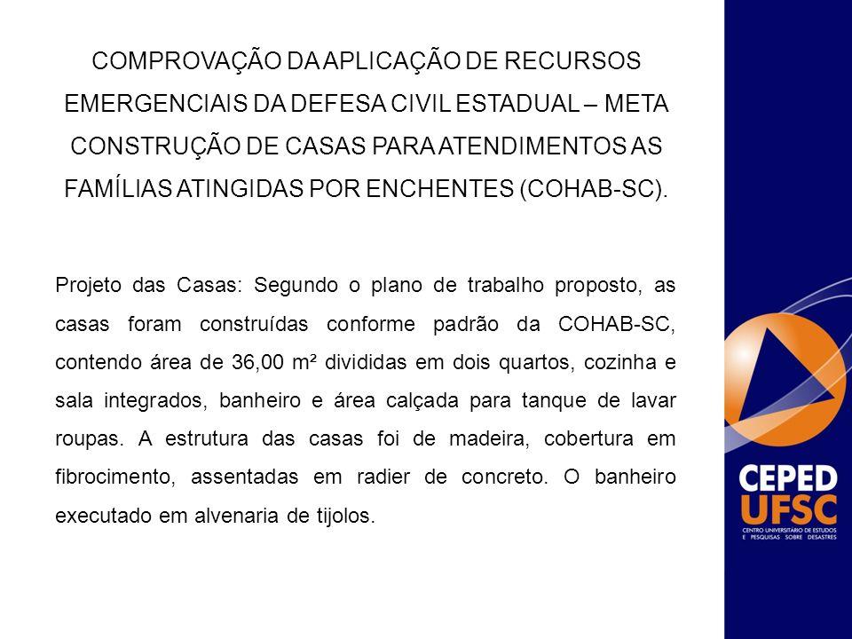 Projeto das Casas: Segundo o plano de trabalho proposto, as casas foram construídas conforme padrão da COHAB-SC, contendo área de 36,00 m² divididas e