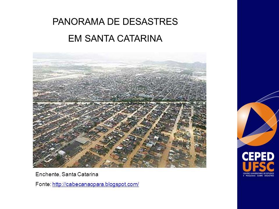 Enchente, Santa Catarina Fonte: http://cabecanaopara.blogspot.com/http://cabecanaopara.blogspot.com/ PANORAMA DE DESASTRES EM SANTA CATARINA