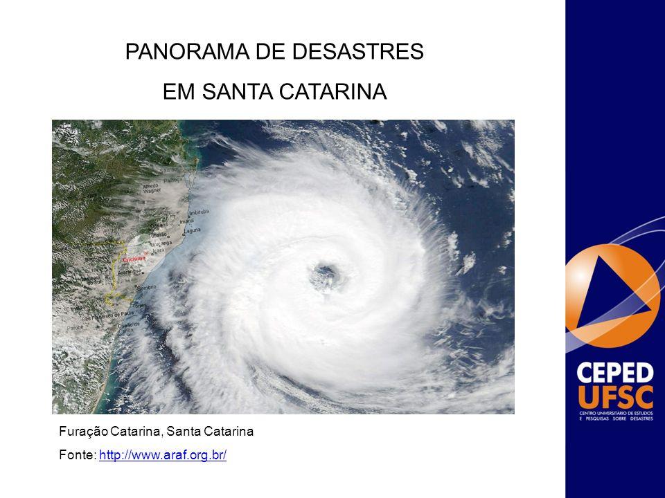 Furação Catarina, Santa Catarina Fonte: http://www.araf.org.br/http://www.araf.org.br/ PANORAMA DE DESASTRES EM SANTA CATARINA