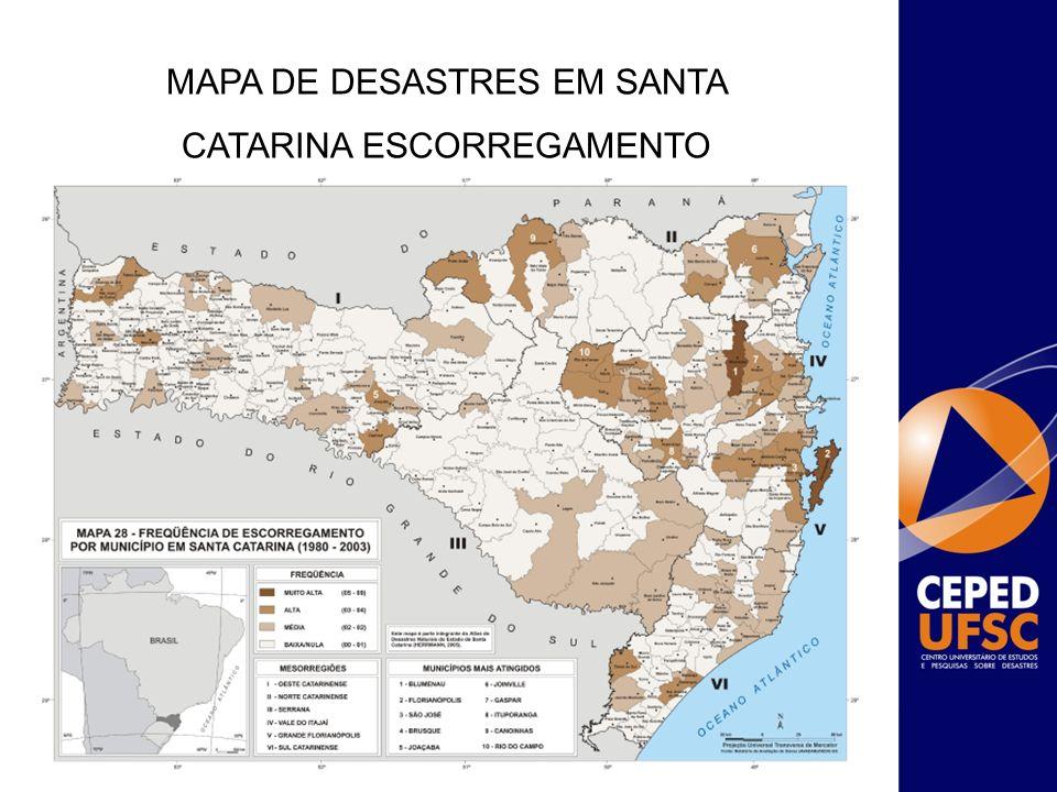 SUPORTE TÉCNICO PARA AVALIAÇÃO DE ÁREAS ATINGIDAS POR DESASTRES O projeto realizou em 60 municípios de Santa Catarina ações de avaliação dos danos ocasionados por movimento de massa e levantamento de obras de reconstrução.