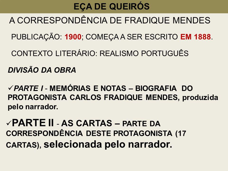 EÇA DE QUEIRÓS A CORRESPONDÊNCIA DE FRADIQUE MENDES PUBLICAÇÃO: 1900; COMEÇA A SER ESCRITO EM 1888. CONTEXTO LITERÁRIO: REALISMO PORTUGUÊS DIVISÃO DA