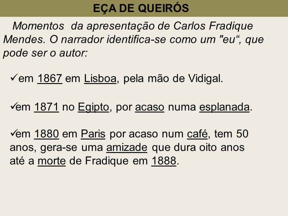 EÇA DE QUEIRÓS Momentos da apresentação de Carlos Fradique Mendes. O narrador identifica-se como um