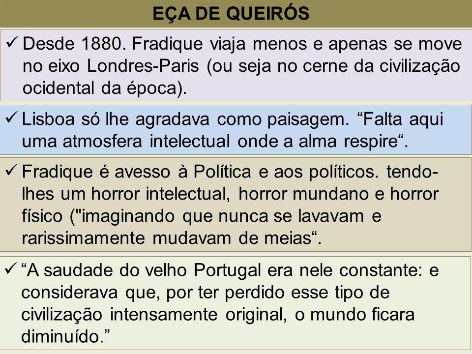 EÇA DE QUEIRÓS Desde 1880. Fradique viaja menos e apenas se move no eixo Londres-Paris (ou seja no cerne da civilização ocidental da época). Lisboa só