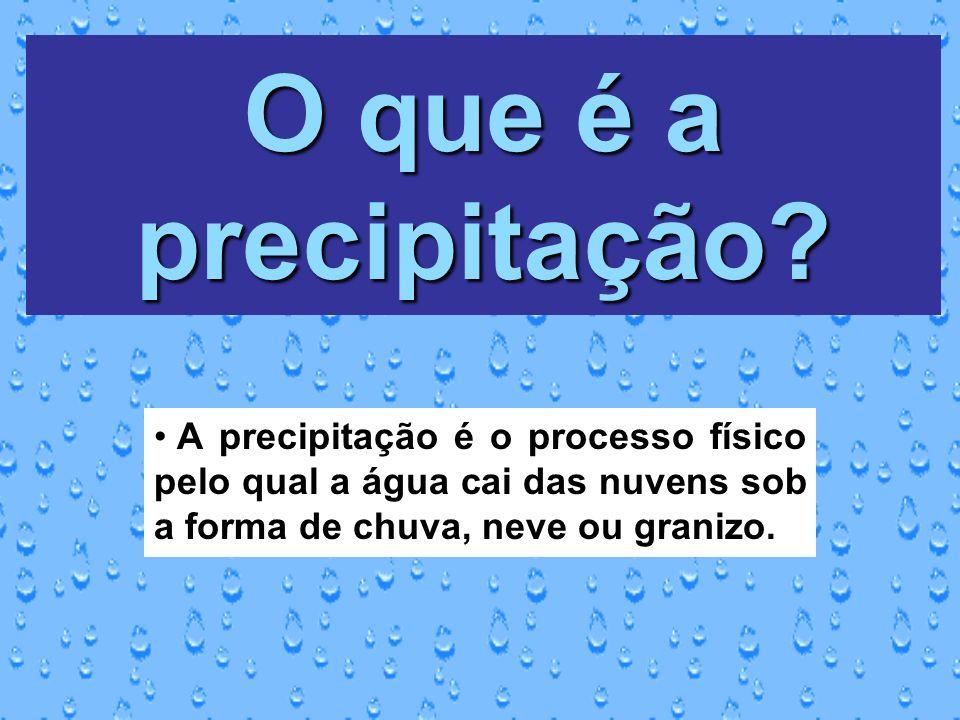 O que é a precipitação? A precipitação é o processo físico pelo qual a água cai das nuvens sob a forma de chuva, neve ou granizo.