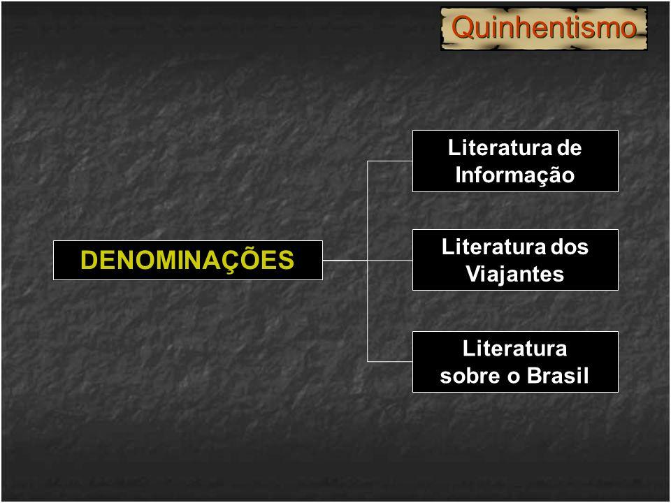 DENOMINAÇÕES Literatura de Informação Literatura dos Viajantes Literatura sobre o Brasil Quinhentismo