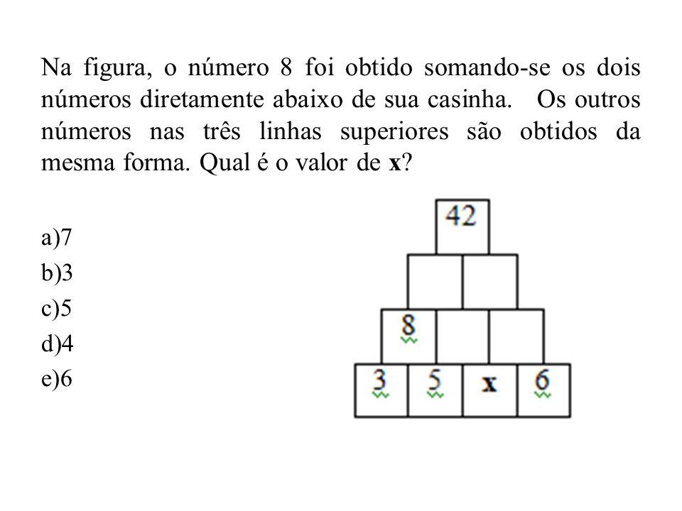 Na figura, o número 8 foi obtido somando-se os dois números diretamente abaixo de sua casinha. Os outros números nas três linhas superiores são obtido