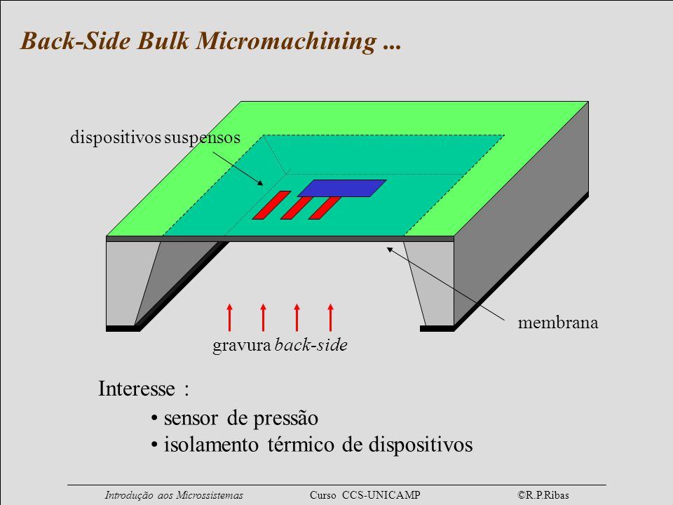 Introdução aos Microssistemas Curso CCS-UNICAMP ©R.P.Ribas dispositivos suspensos membrana gravura back-side sensor de pressão isolamento térmico de d