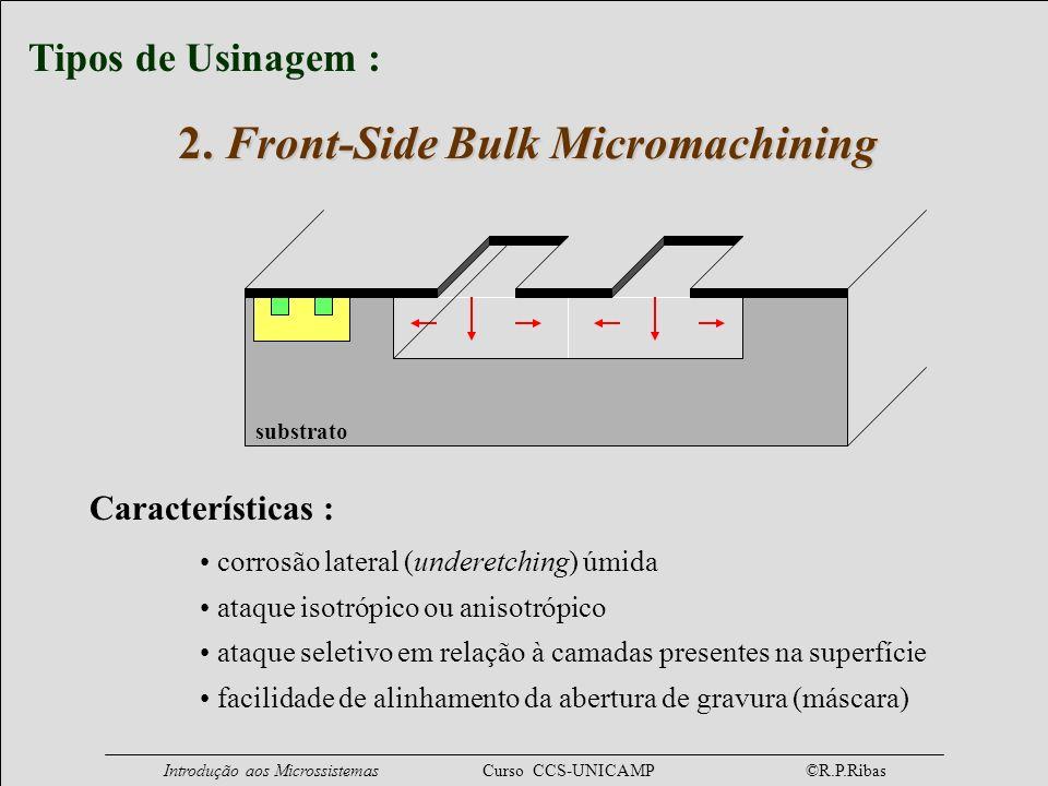 Introdução aos Microssistemas Curso CCS-UNICAMP ©R.P.Ribas substrato Características : corrosão lateral (underetching) úmida ataque isotrópico ou anis