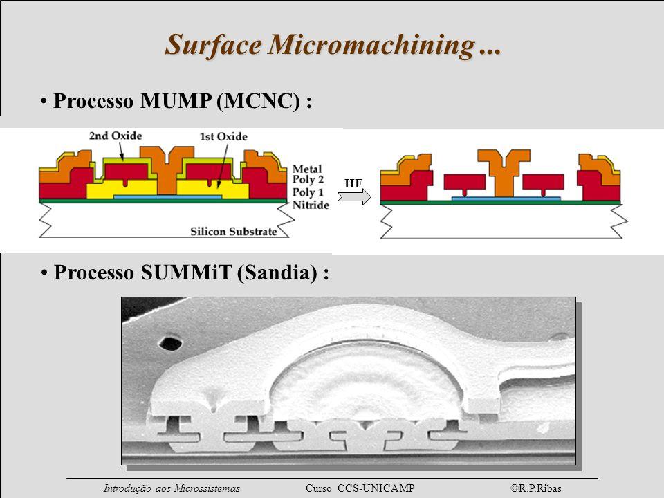 Introdução aos Microssistemas Curso CCS-UNICAMP ©R.P.Ribas Processo MUMP (MCNC) : Surface Micromachining... Processo SUMMiT (Sandia) : HF