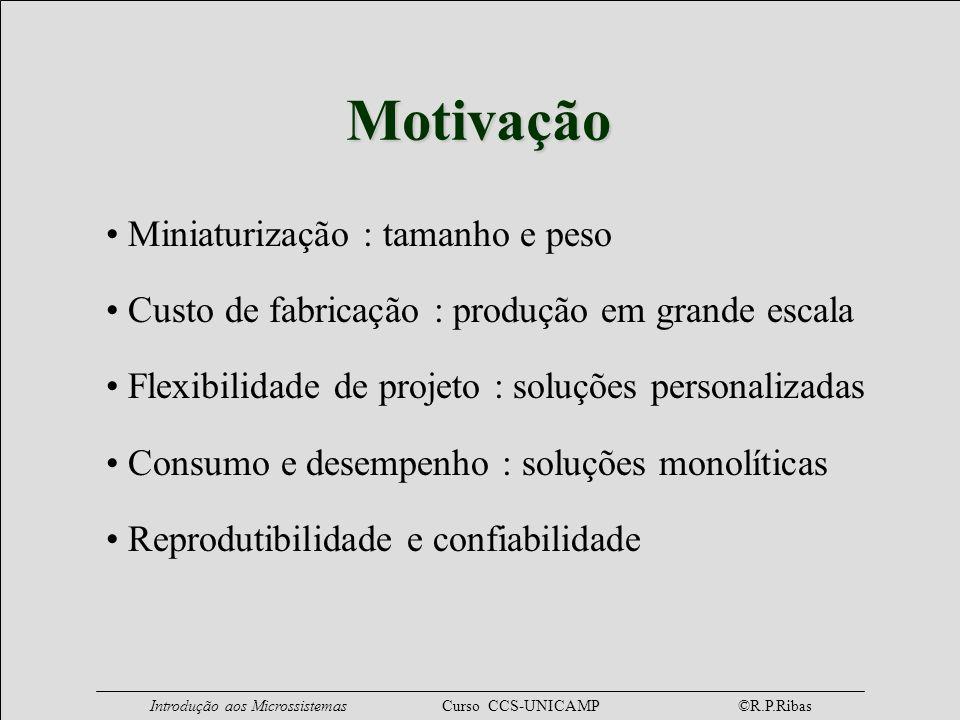 Introdução aos Microssistemas Curso CCS-UNICAMP ©R.P.Ribas Motivação Miniaturização : tamanho e peso Custo de fabricação : produção em grande escala F