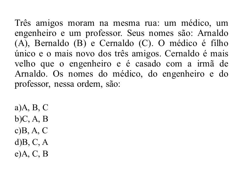 Três amigos moram na mesma rua: um médico, um engenheiro e um professor. Seus nomes são: Arnaldo (A), Bernaldo (B) e Cernaldo (C). O médico é filho ún