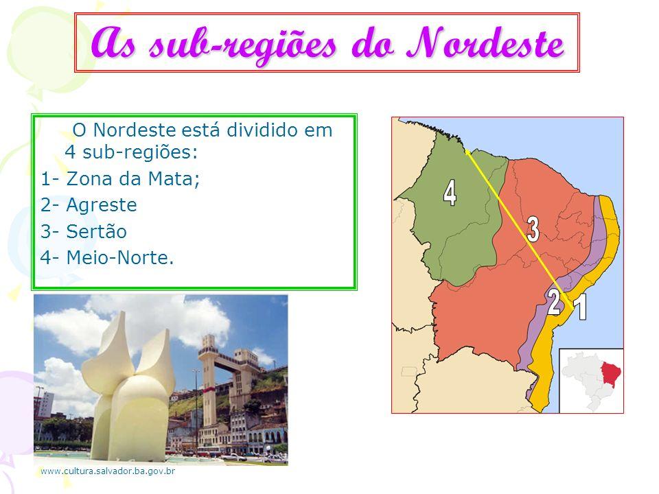 As sub-regiões do Nordeste O Nordeste está dividido em 4 sub-regiões: 1- Zona da Mata; 2- Agreste 3- Sertão 4- Meio-Norte. www.cultura.salvador.ba.gov