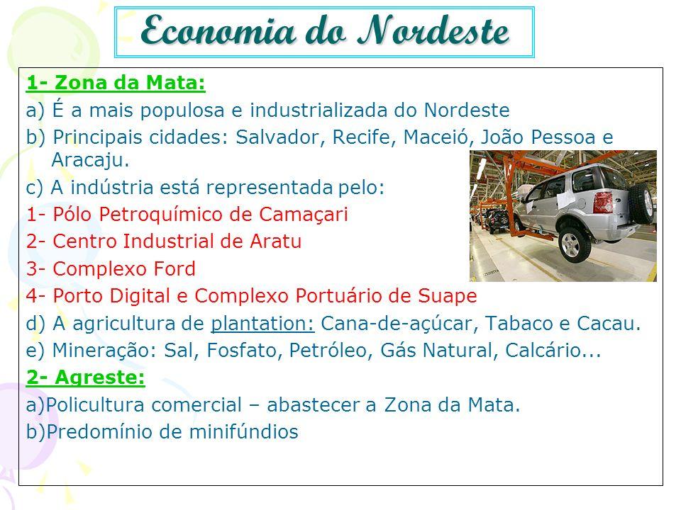 Economia do Nordeste 1- Zona da Mata: a) É a mais populosa e industrializada do Nordeste b) Principais cidades: Salvador, Recife, Maceió, João Pessoa