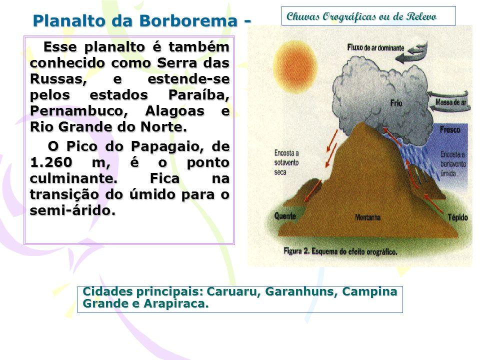 Cidades principais: Caruaru, Garanhuns, Campina Grande e Arapiraca. Planalto da Borborema - Esse planalto é também conhecido como Serra das Russas, e