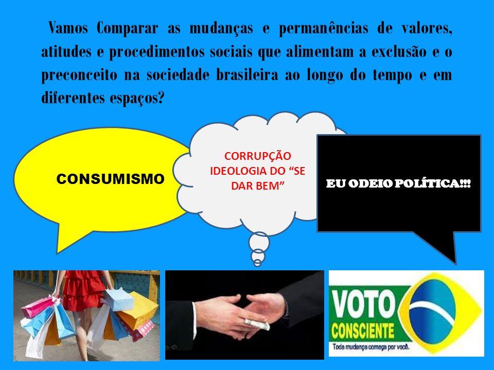 Vamos Comparar as mudanças e permanências de valores, atitudes e procedimentos sociais que alimentam a exclusão e o preconceito na sociedade brasileir