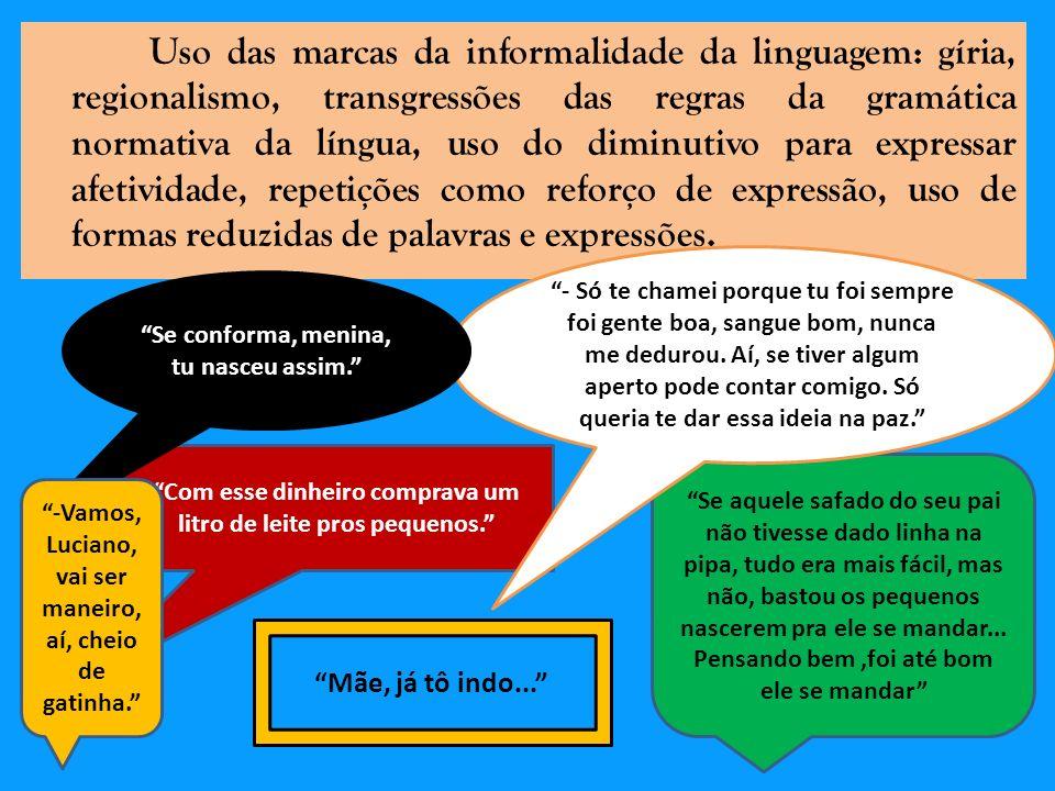 Uso das marcas da informalidade da linguagem: gíria, regionalismo, transgressões das regras da gramática normativa da língua, uso do diminutivo para e