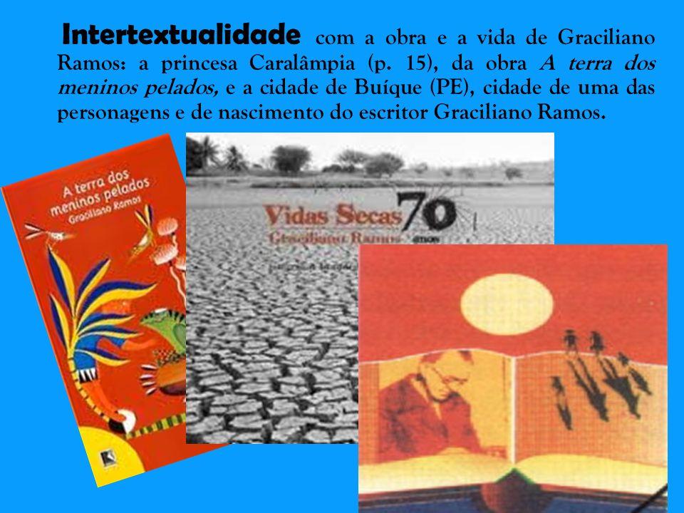 Intertextualidade com a obra e a vida de Graciliano Ramos: a princesa Caralâmpia (p. 15), da obra A terra dos meninos pelados, e a cidade de Buíque (P