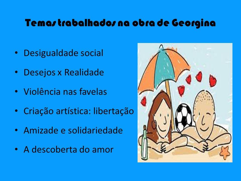 Temas trabalhados na obra de Georgina Desigualdade social Desejos x Realidade Violência nas favelas Criação artística: libertação Amizade e solidaried