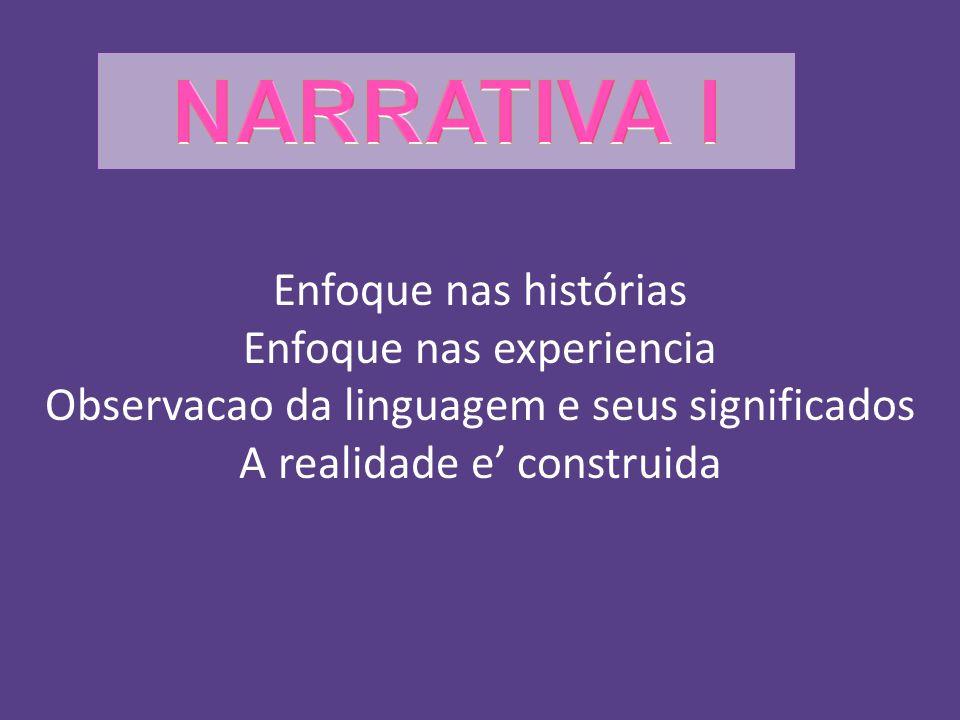 Enfoque nas histórias Enfoque nas experiencia Observacao da linguagem e seus significados A realidade e construida