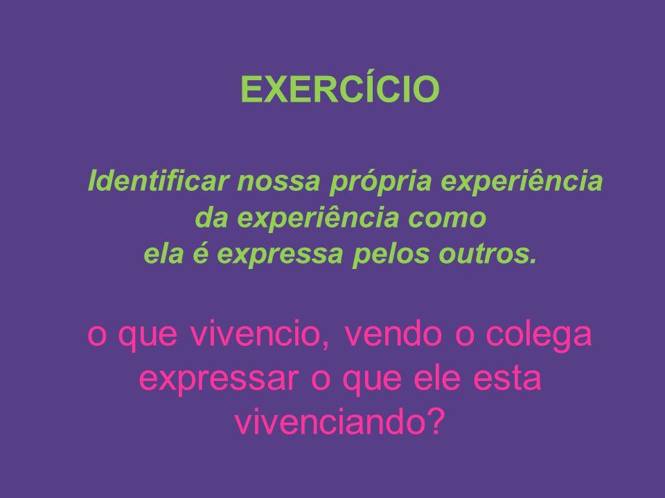 EXERCÍCIO Identificar nossa própria experiência da experiência como ela é expressa pelos outros. o que vivencio, vendo o colega expressar o que ele es