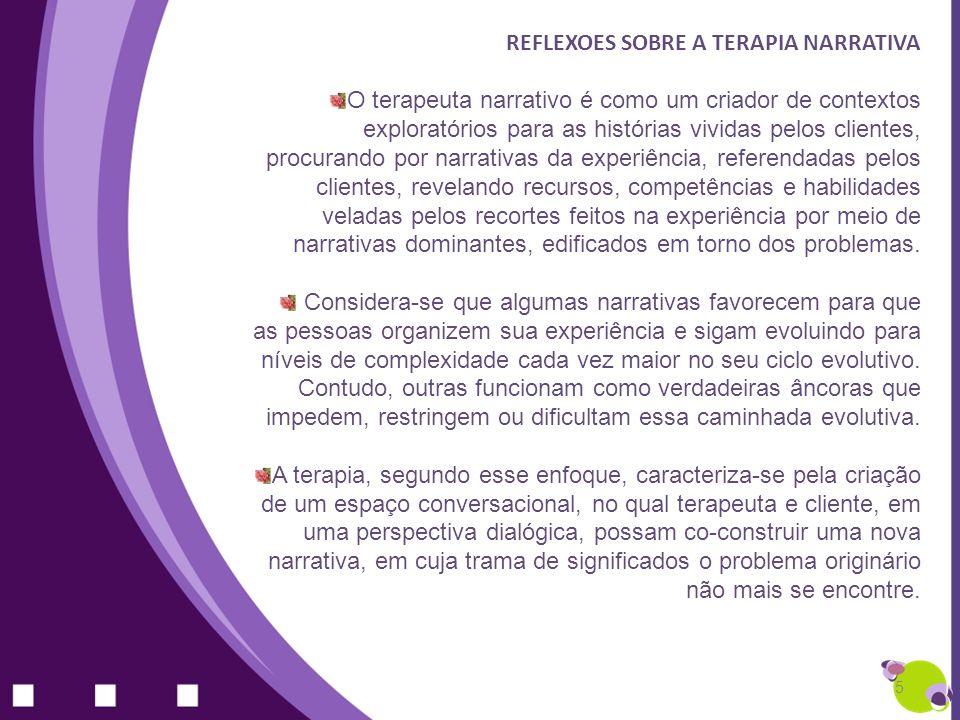 REFLEXOES SOBRE A TERAPIA NARRATIVA O terapeuta narrativo é como um criador de contextos exploratórios para as histórias vividas pelos clientes, procu