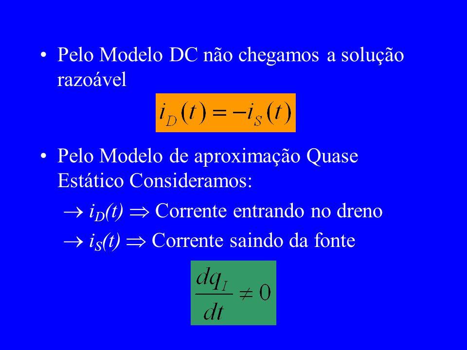 Pelo Modelo DC não chegamos a solução razoável Pelo Modelo de aproximação Quase Estático Consideramos: i D (t) Corrente entrando no dreno i S (t) Corrente saindo da fonte