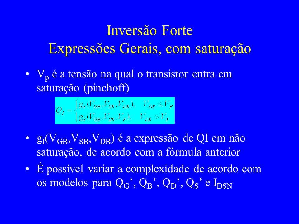 Inversão Forte Expressões Gerais, com saturação V p é a tensão na qual o transistor entra em saturação (pinchoff) g I (V GB,V SB,V DB ) é a expressão de QI em não saturação, de acordo com a fórmula anterior É possível variar a complexidade de acordo com os modelos para Q G, Q B, Q D, Q S e I DSN