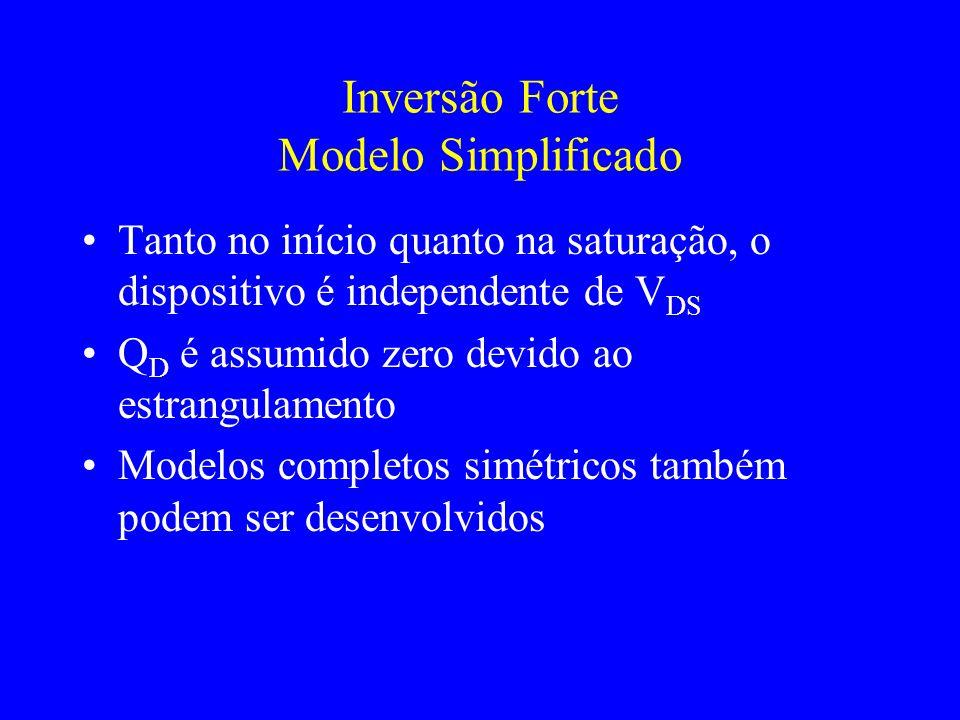 Inversão Forte Modelo Simplificado Tanto no início quanto na saturação, o dispositivo é independente de V DS Q D é assumido zero devido ao estrangulamento Modelos completos simétricos também podem ser desenvolvidos