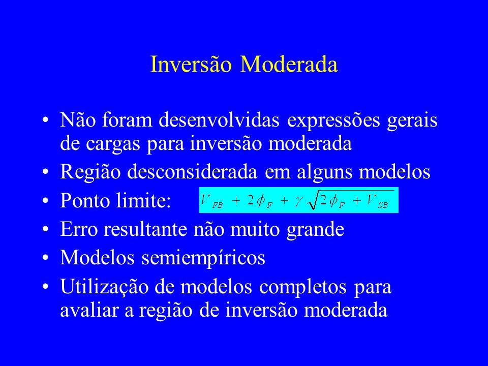 Inversão Moderada Não foram desenvolvidas expressões gerais de cargas para inversão moderada Região desconsiderada em alguns modelos Ponto limite: Erro resultante não muito grande Modelos semiempíricos Utilização de modelos completos para avaliar a região de inversão moderada