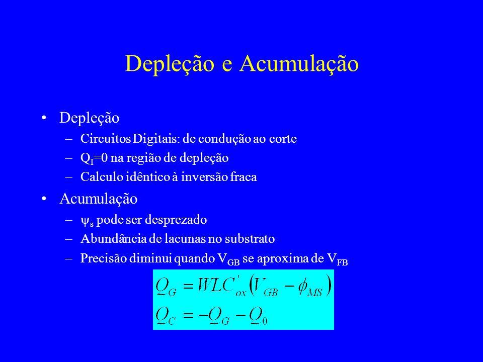 Depleção e Acumulação Depleção –Circuitos Digitais: de condução ao corte –Q I =0 na região de depleção –Calculo idêntico à inversão fraca Acumulação – s pode ser desprezado –Abundância de lacunas no substrato –Precisão diminui quando V GB se aproxima de V FB