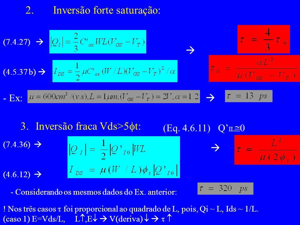 (7.4.27) (4.5.37 b) - Ex: 3.Inversão fraca Vds>5 t: (Eq.
