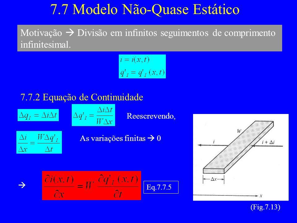 7.7 Modelo Não-Quase Estático Motivação Divisão em infinitos seguimentos de comprimento infinitesimal.