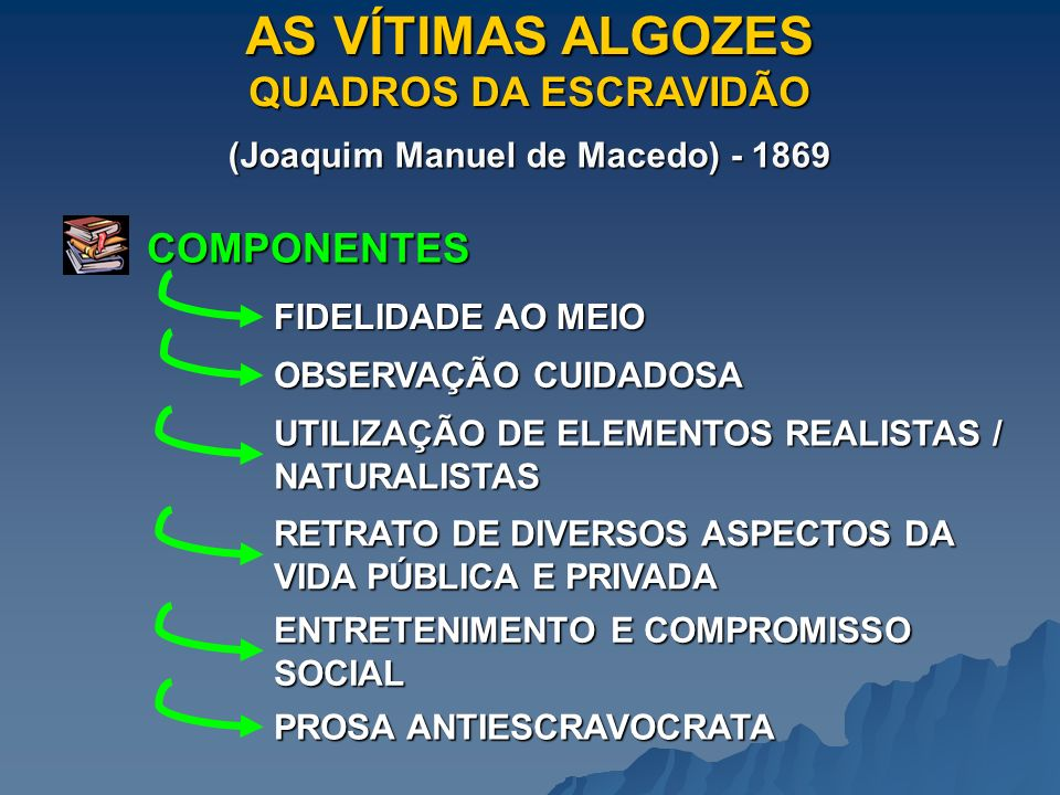 AS VÍTIMAS ALGOZES QUADROS DA ESCRAVIDÃO (Joaquim Manuel de Macedo) - 1869 COMPONENTES FIDELIDADE AO MEIO OBSERVAÇÃO CUIDADOSA UTILIZAÇÃO DE ELEMENTOS REALISTAS / NATURALISTAS RETRATO DE DIVERSOS ASPECTOS DA VIDA PÚBLICA E PRIVADA ENTRETENIMENTO E COMPROMISSO SOCIAL PROSA ANTIESCRAVOCRATA