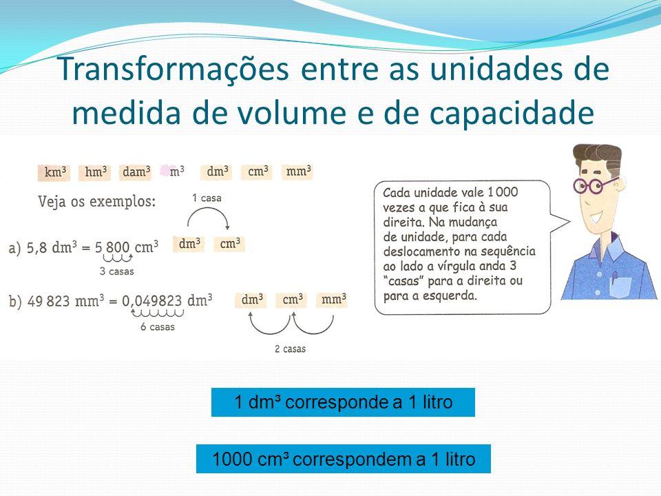 Transformações entre as unidades de medida de volume e de capacidade 1 dm³ corresponde a 1 litro 1000 cm³ correspondem a 1 litro
