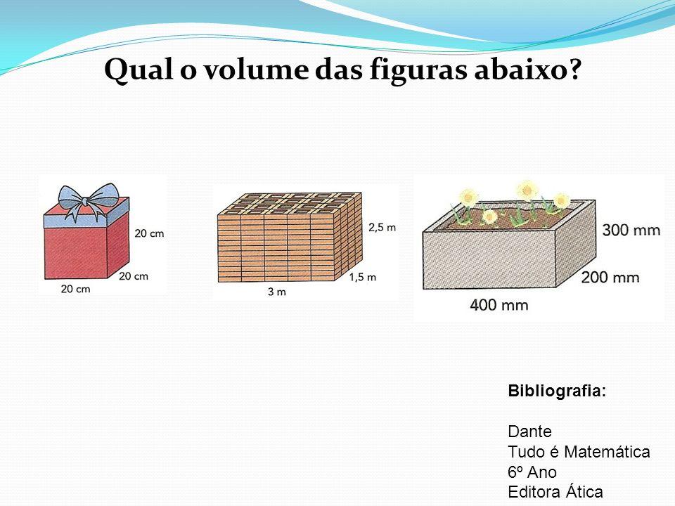 Qual o volume das figuras abaixo? Bibliografia: Dante Tudo é Matemática 6º Ano Editora Ática