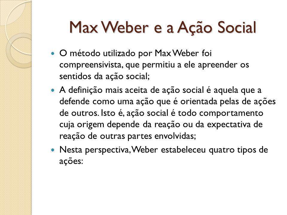Max Weber e a Ação Social O método utilizado por Max Weber foi compreensivista, que permitiu a ele apreender os sentidos da ação social; A definição mais aceita de ação social é aquela que a defende como uma ação que é orientada pelas de ações de outros.