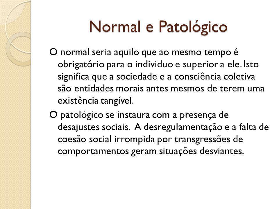 Normal e Patológico O normal seria aquilo que ao mesmo tempo é obrigatório para o individuo e superior a ele.