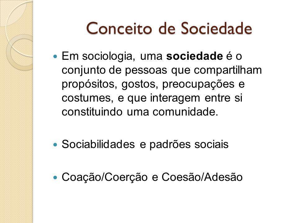 Conceito de Sociedade Em sociologia, uma sociedade é o conjunto de pessoas que compartilham propósitos, gostos, preocupações e costumes, e que interagem entre si constituindo uma comunidade.