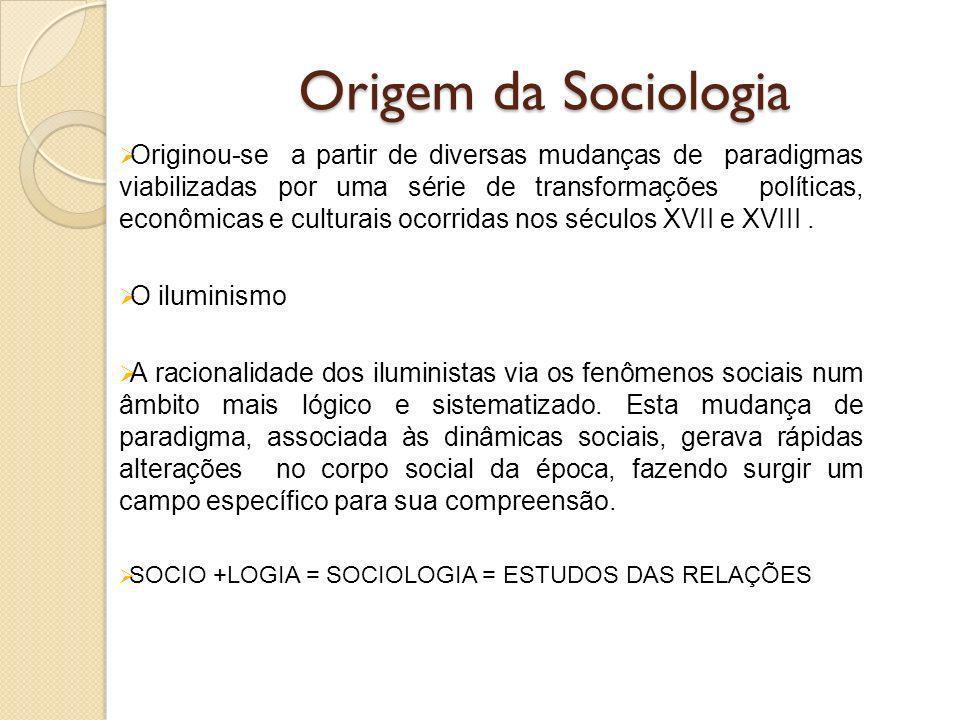 Origem da Sociologia Originou-se a partir de diversas mudanças de paradigmas viabilizadas por uma série de transformações políticas, econômicas e culturais ocorridas nos séculos XVII e XVIII.