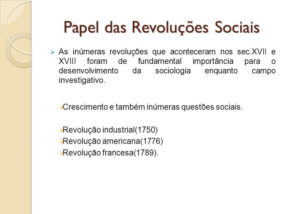 Papel das Revoluções Sociais As inúmeras revoluções que aconteceram nos sec.XVII e XVIII foram de fundamental importância para o desenvolvimento da sociologia enquanto campo investigativo.