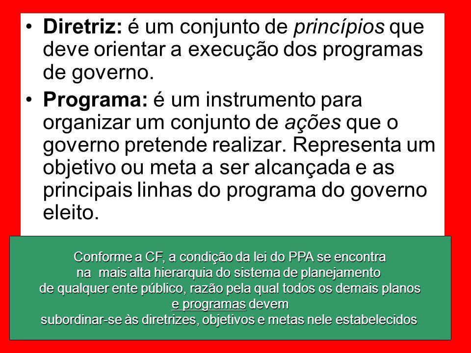 Diretriz: é um conjunto de princípios que deve orientar a execução dos programas de governo. Programa: é um instrumento para organizar um conjunto de