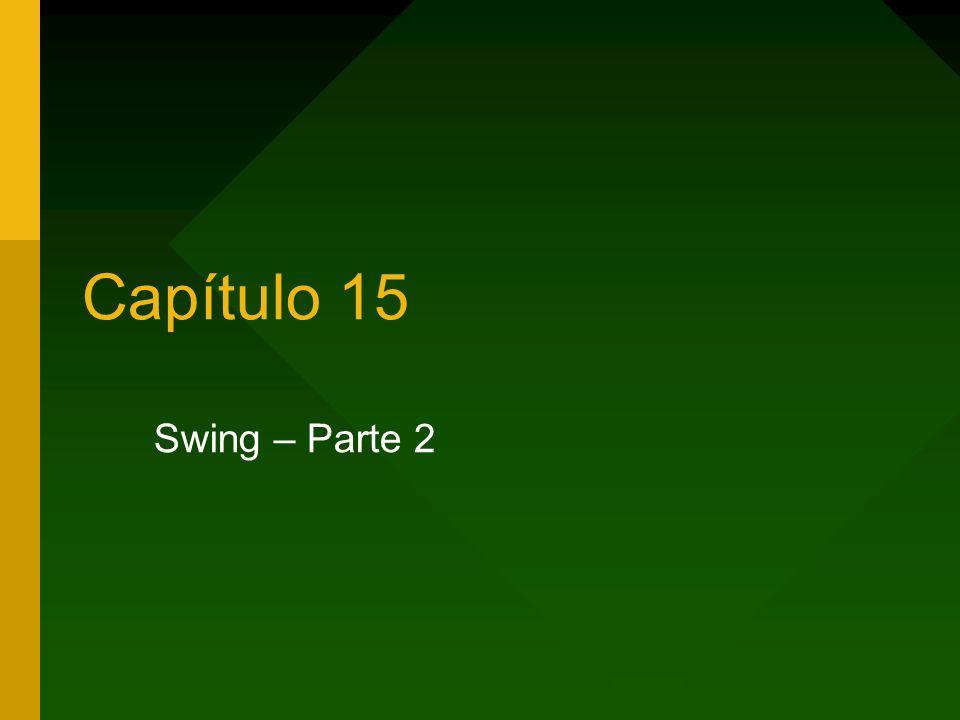 2 Capítulo 15 – Swing parte 2 Swing – parte 2 A classe javax.swing.JFrame Componentes de tela Gerenciadores de layout Eventos