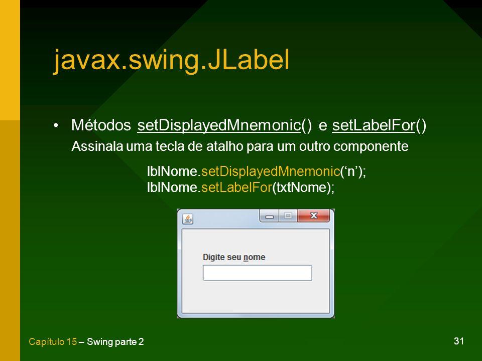 31 Capítulo 15 – Swing parte 2 javax.swing.JLabel Métodos setDisplayedMnemonic() e setLabelFor() Assinala uma tecla de atalho para um outro componente