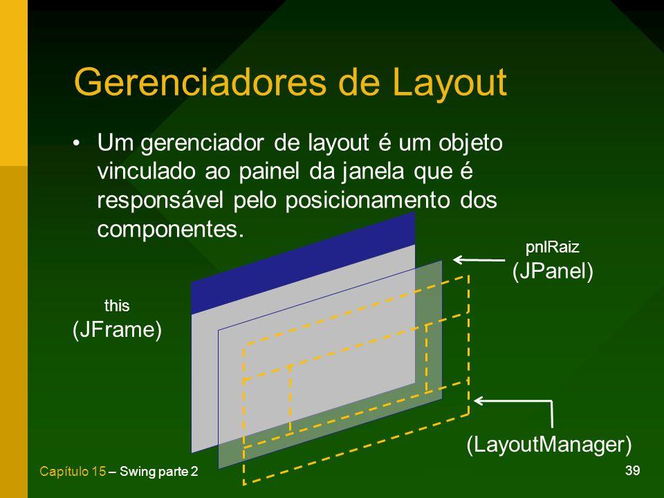 39 Capítulo 15 – Swing parte 2 Gerenciadores de Layout Um gerenciador de layout é um objeto vinculado ao painel da janela que é responsável pelo posic